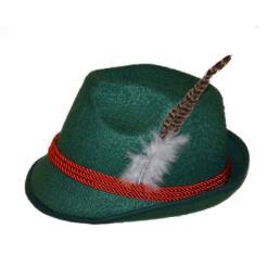 Vilt groen met rood touw + pluim