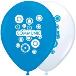 8 ballonnen 30 cm blauw/wit communie