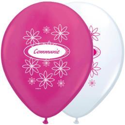 8 Ballonnen 30 cm roze/wit communie