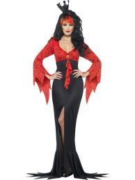 Lange jurk rood/zwart