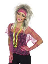 Net shirt roze met handschoenen en hoofdband