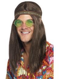 Hippie kit (haarband, bril en ketting)