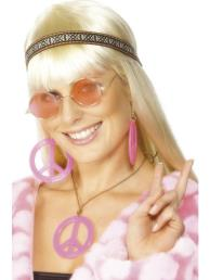 Hippie kit (haarband, bril, ketting en oorbellen)