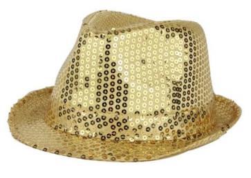 hoed glitter goud