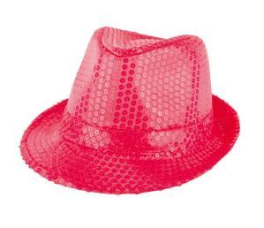 hoed fluo glitter roze