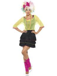 Pop kostuum 80 (jurk/ net/ diadeem