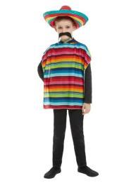 Poncho met sombrero unisex