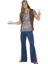 Hippie pak man (broek, hemd, sjaal en ketting)