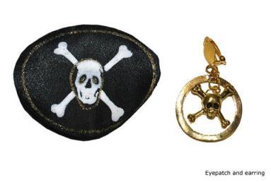 Ooglap met oorbel piraat