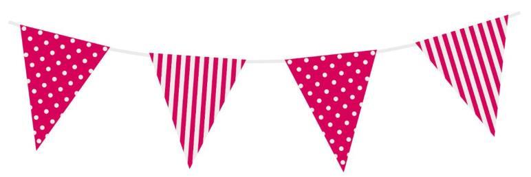 Vlaggenlijn stippen/strepen roze 3,6 mtr