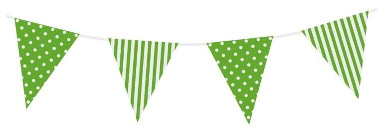 Vlaggenlijn stippen/strepen groen 3,6 mtr