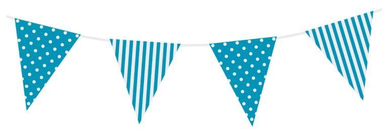 Vlaggenlijn stippen/strepen blauw 3,6 mtr