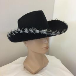 Cowboyhoed zwart pluim