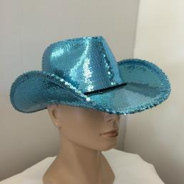 Cowboyhoed glitter blauw