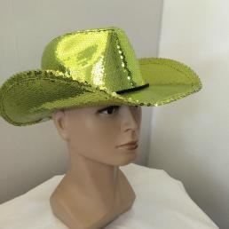 Cowboyhoed glitter groen-geel
