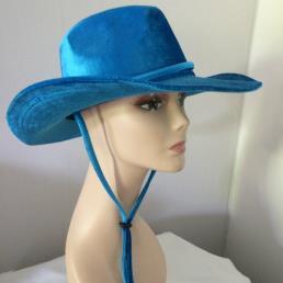 Cowboyhoed fluweel blauw