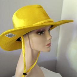 cowboyhoed fluweel geel