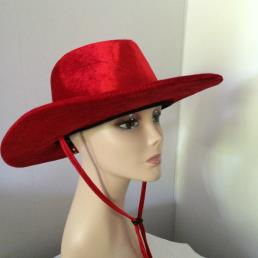 Cowboyhoed fluweel rood