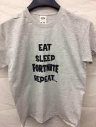 t-shirt grijs (Eat, sleep, Fortnite, repeat)