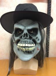 skull met hoed en haar