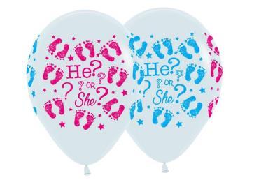 Ballonnen He or She 6 st